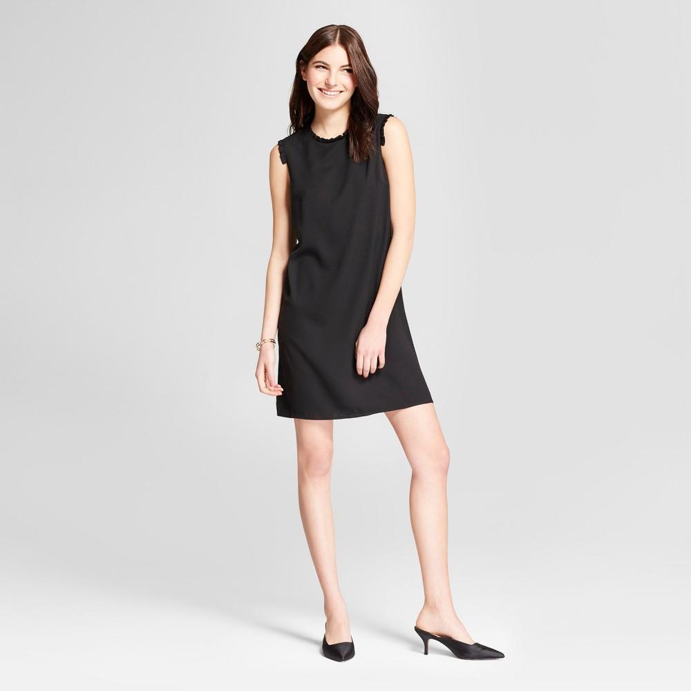 Women's Ruffle Detail Shift Mini Dress - Éclair Black S