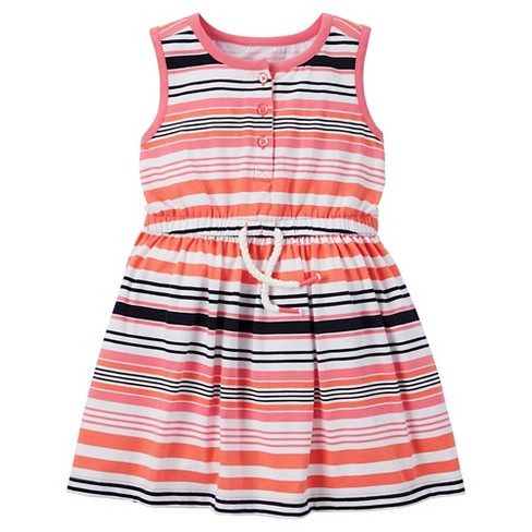 Baby Girls' Print Dress - Just One You™ Made by Carter's® Sherbet Stripe 18M - image 1 of 1