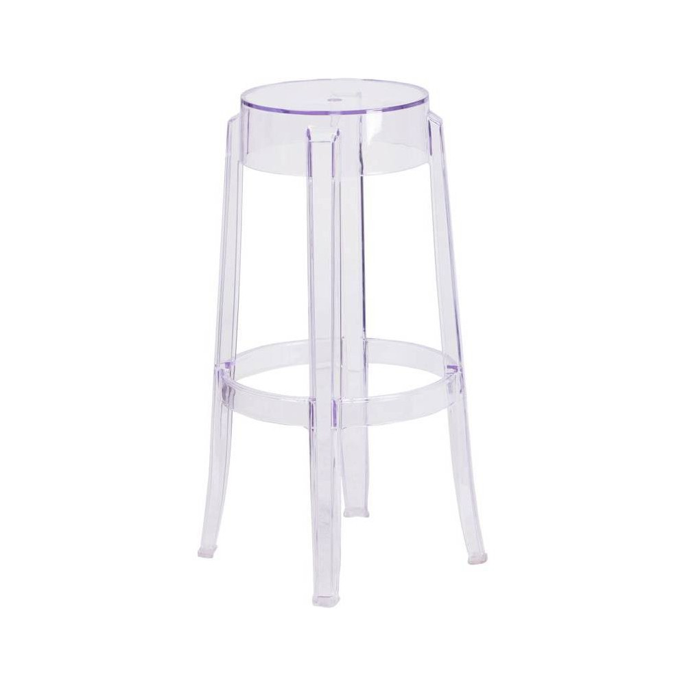 24.5 Riverstone Furniture Collection H Leather Barstool Clear