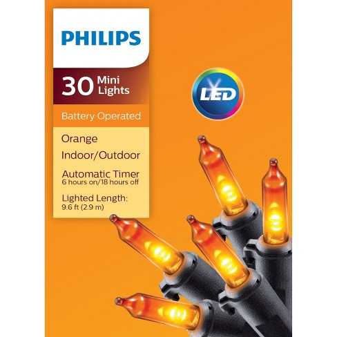 Philips 30ct Battery Operated Led Smooth Mini Lights Orange Target