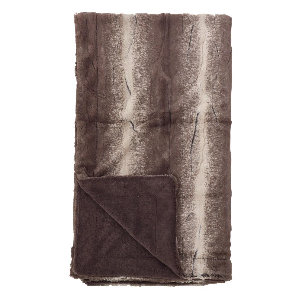 """Image of """"50""""""""x60"""""""" Animal Print Design Soft Plush Faux Fur Throw Blanket Brown - SARO"""""""