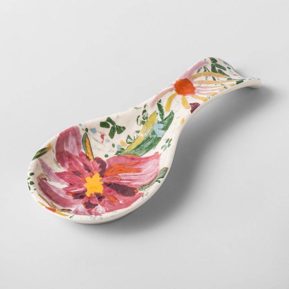Stoneware Spoon Rest Pink/Green Floral - Opalhouse