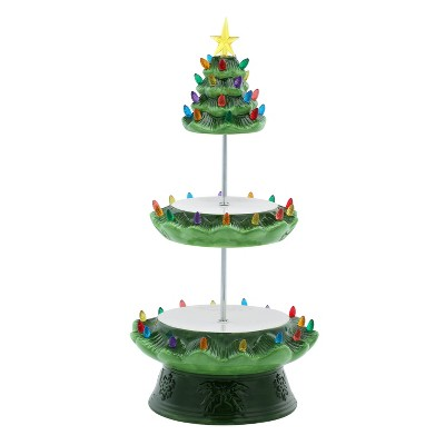 Ceramic Nostalgic Tree Tiered Plate Green - Mr. Christmas