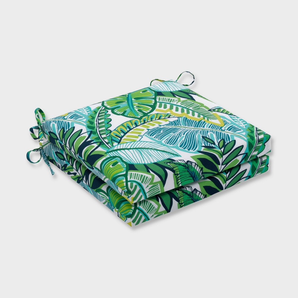 "Image of ""20"""" x 20"""" x 3"""" 2pk Aruba Jungle Squared Corners Outdoor Seat Cushions Blue - Pillow Perfect, Blue Green Yellow"""