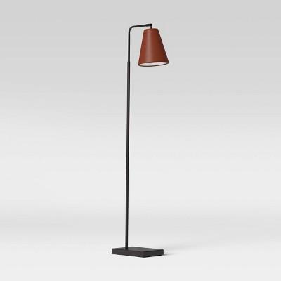 Covington Faux Leather Floor Lamp Brown (Includes LED Light Bulb) - Threshold™