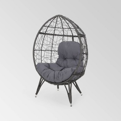 Gianni Wicker Teardrop Chair Gray/Dark Gray - Christopher Knight Home
