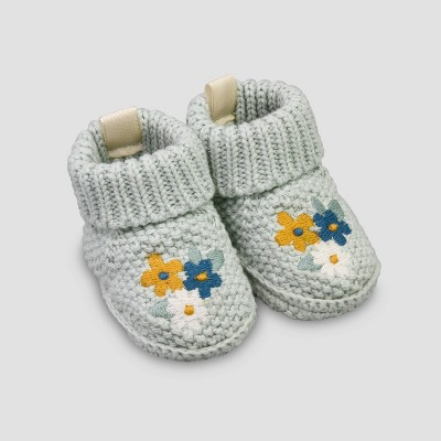 Baby Girls' Knit Flower Slippers - Just One You® made by carter's Green