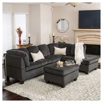 Canterbury 3 Piece Fabric Sectional Sofa Set   Charcoal, Christopher Knight  Home : Target