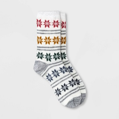 Women's Gradient Snowflake Double Lined Cozy Crew Socks - A New Day™ Ivory 4-10