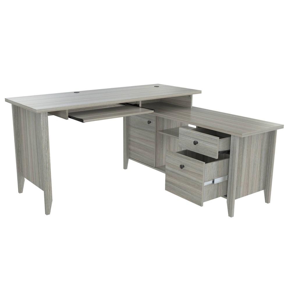 Image of L Shaped Computer Writing Desk Smoke Oak - Inval, Gray