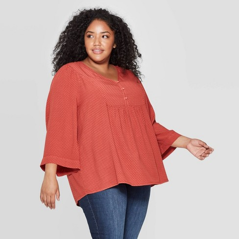 Women's Plus Size Long Sleeve V-Neck Peasant Top - Universal Thread™ Red - image 1 of 3