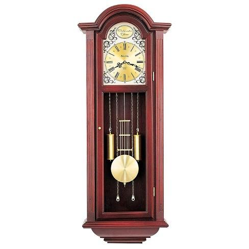 Bulova Clocks C3381 Tatianna Wooden Mahogany 3 Tune Musical Chiming Pendulum Wall Clock, Plays Ave Maria, Bim Bam, or Westminster - image 1 of 1