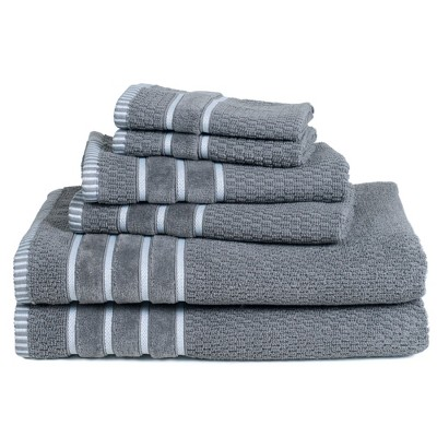 6pc Combed Cotton Bath Towels Sets Silver - Yorkshire Home