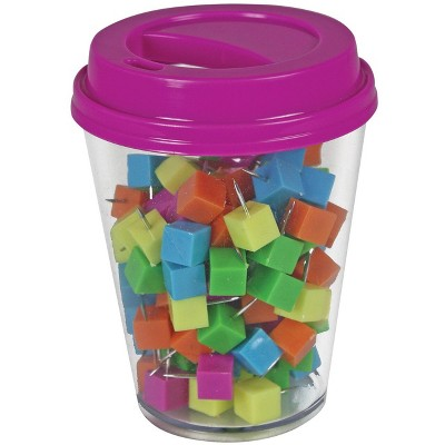 The Pencil Grip Inc Push Pin in Coffee Cup Supply Storage, Assorted Color, pk of 120