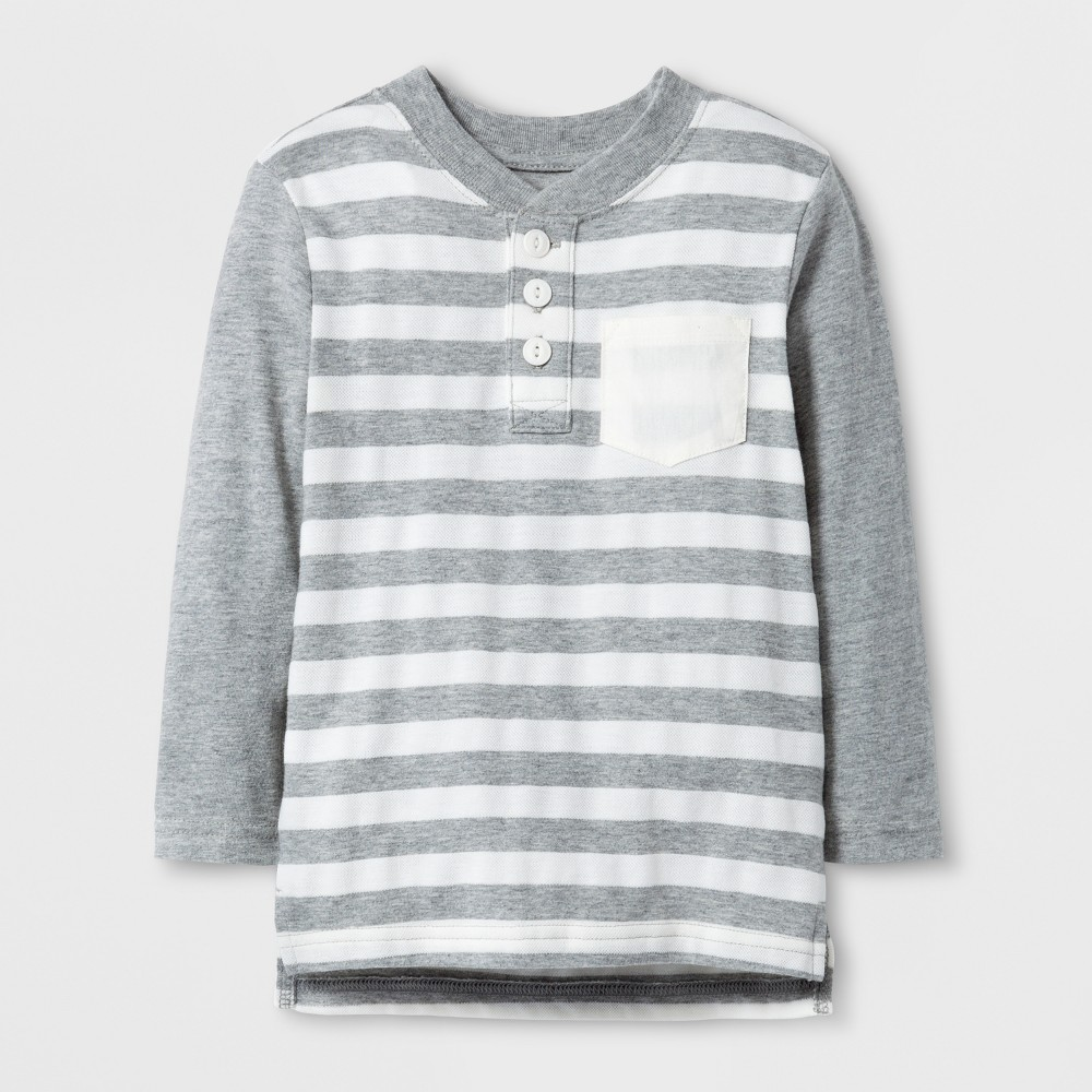 Toddler Boys' Long Sleeve Henley - Cat & Jack Heather Gray Stripe 2T