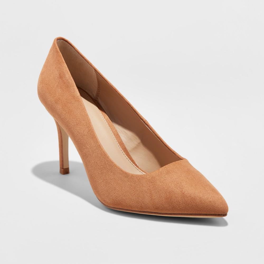 Women's Gemma Wide Width Pointed Toe Nude Pumps - A New Day Caramel 8.5W, Size: 8.5 Wide