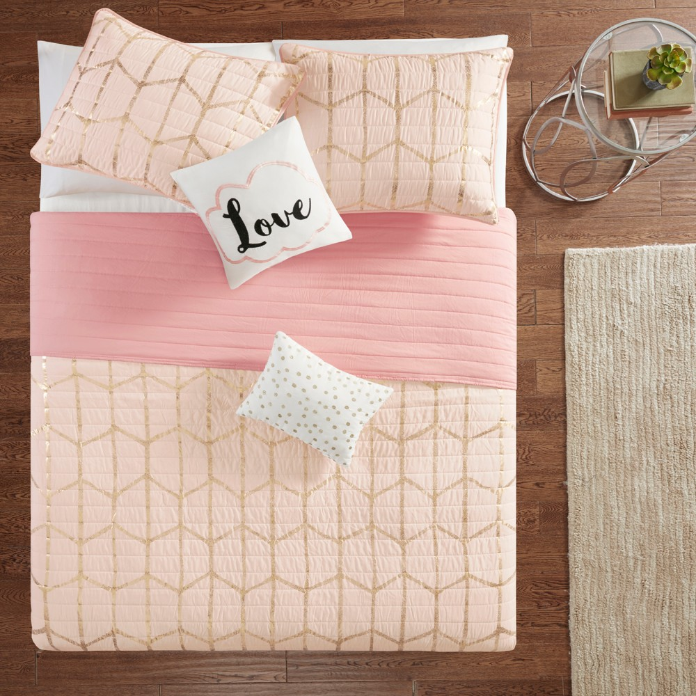 Image of 5pc King/California King Arielle Printed Coverlet Set Blush/Gold