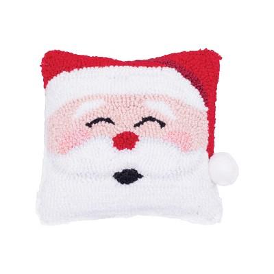 "C&F Home 8"" x 8"" Happy Santa Hooked Petite Pillow"