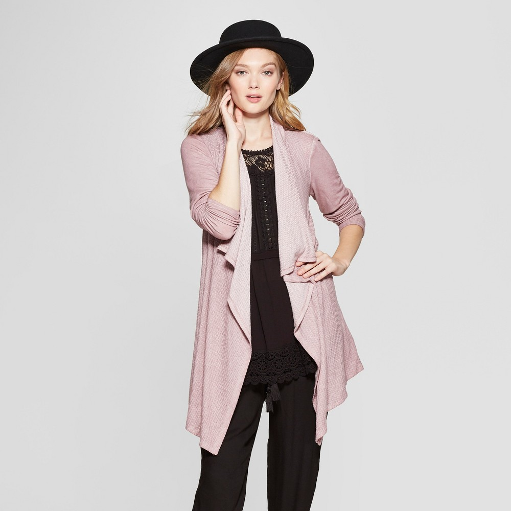 Women's Long Sleeve Waffle Knit Open Cardigan - Knox Rose Misty Rose M, Pink