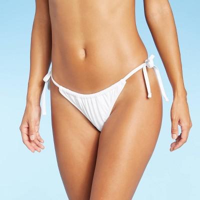 Juniors' Shirred Side-Tie High Leg Scoop Bikini Bottom - Xhilaration™
