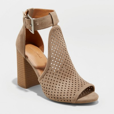 46a2c58192db Women s Hannah Microsuede Wide Width Laser Cut Heeled Pump Sandals -  Universal Thread™ Taupe 6.5W   Target