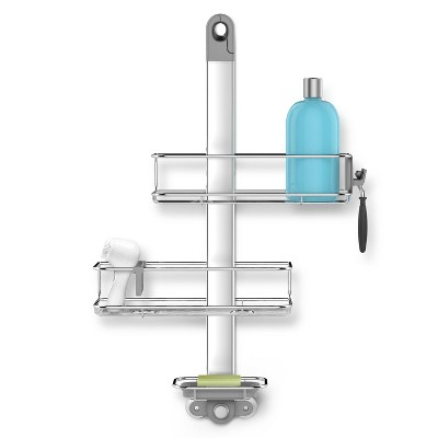 simplehuman Adjustable Stainless Steel and Anodized Aluminum Shower Caddy Medium Silver