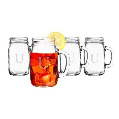 Cathy's Concepts 16oz 4pk Monogram Old-Fashioned Drinking Jars U