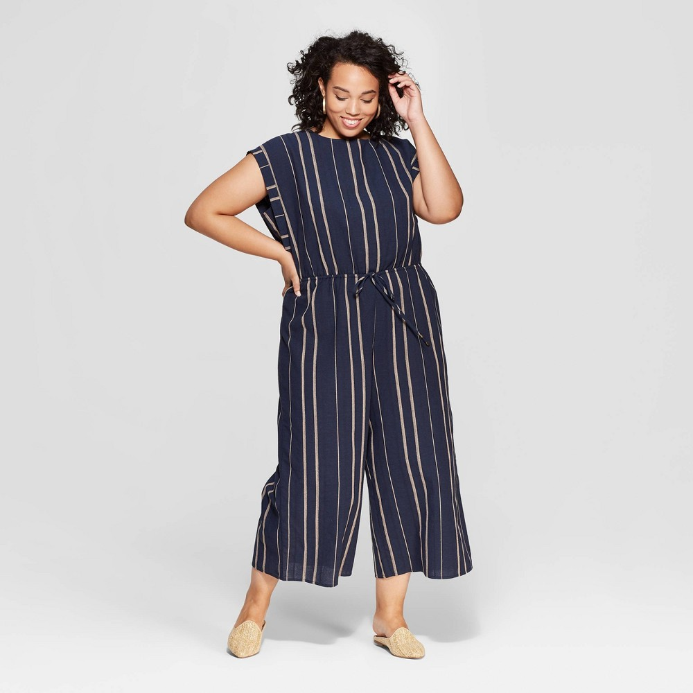 Women's Plus Size Striped Sleeveless Scoop Neck Jumpsuit - Universal Thread Navy X, Blue