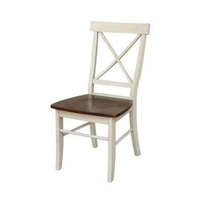 Set of 2 X Back Chairs with Solid Wood Seats Antiqued Almond/Espresso - International Concepts