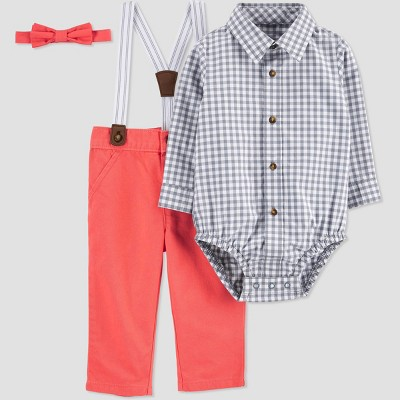 Baby Boys' Easter Dressy Top & Bottom Set - Just One You® made by carter's Gray/Poppy Red 3M