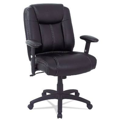 Alera CC Series Executive Mid-Back Leather Chair w/Adj Arms Black CC4219