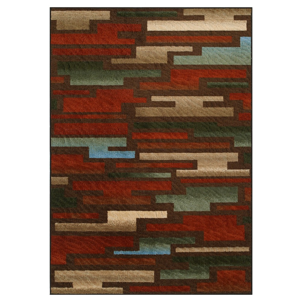 Cinnamon (Red) Color Block Woven Accent Rug 3'3X5'