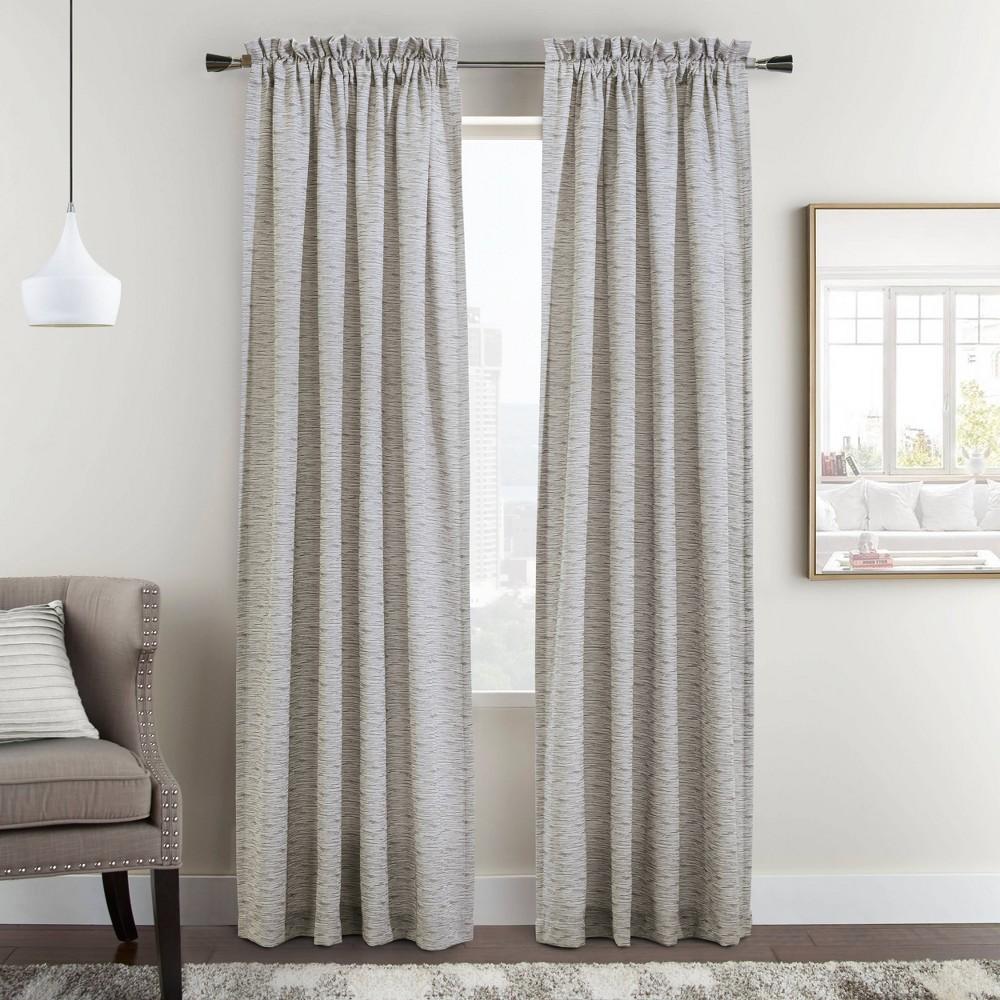 Set Of 2 63 34 X54 34 Bellevue Woven Jacquard Light Filtering Window Curtain Panels Beige Habitat