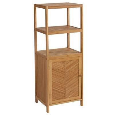 Three Shelf Ecostyle Tower with Cabinet Light Brown - Creative Bath