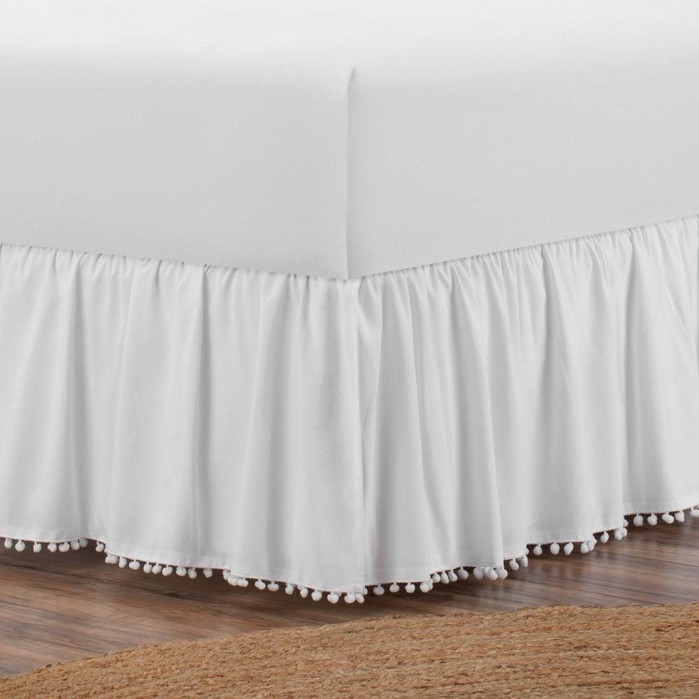 Image of Belles & Whistles Pom Pom Trim Full Bed Skirt White