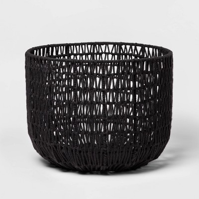 """18"""" x 14"""" Round Woven Basket Black - Project 62™"""