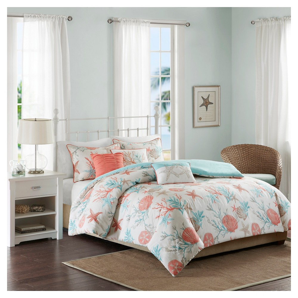 Reviews Ocean View Seashell Duvet Cover Set (Full Queen) Coral - 6pc