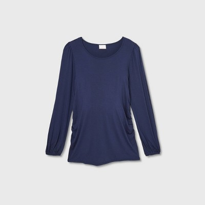 Maternity Long Sleeve Blouson Fitted Knit Top - Isabel Maternity by Ingrid & Isabel™