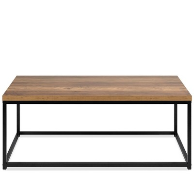 Best Choice Products 44in Modern Industrial Style Rectangular Wood Grain Top Coffee Table w/ Metal Frame, 1.25in Top