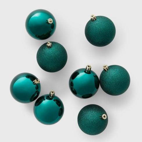 8ct 70mm Shatter Resistant Shiny Glitter Christmas Ornament Set Emerald Green - Wondershop™ - image 1 of 2
