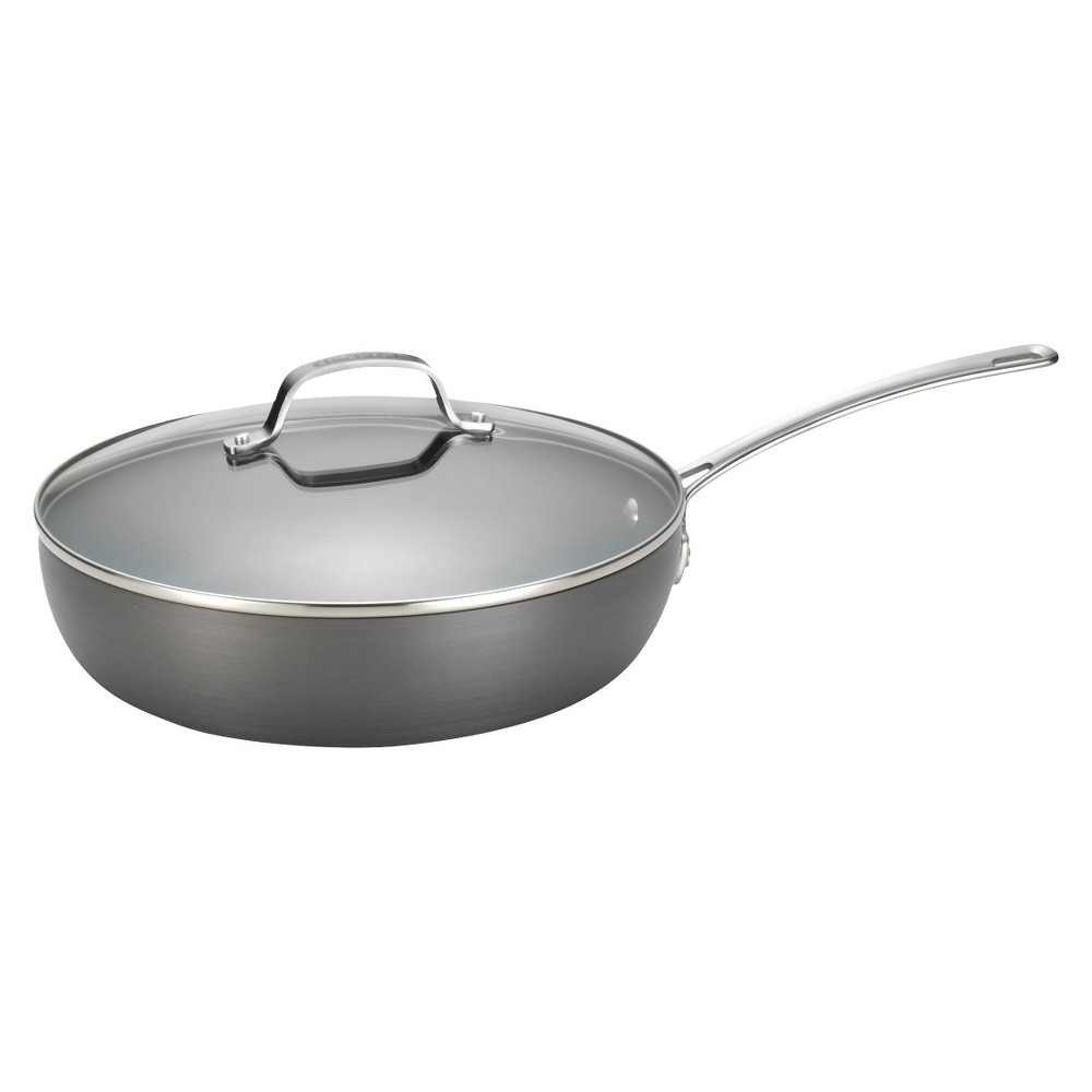 Circulon Genesis 12 Inch Hard-Anodized Covered Deep Skillet - Gray