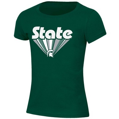 NCAA Michigan State Spartans Girls' Short Sleeve Scoop Neck Green T-Shirt