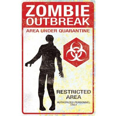 """16.9 """"Halloween Zombie Outbreak Metal Sign"""