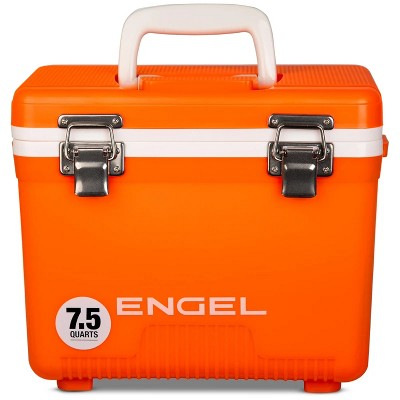 Engel 7.5 Quart Camping, Fishing, and Tailgating Leakproof, Airtight Drybox, Lunchbox, Ice Chest, and Cooler, Orange