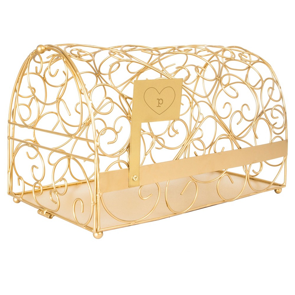 Monogram Heart Gold Gift Card Mailbox Holder - P, Gold-P