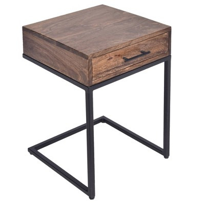 Mango Wood Side Table with Drawer and Cantilever Iron Base Brown/Black - The Urban Port