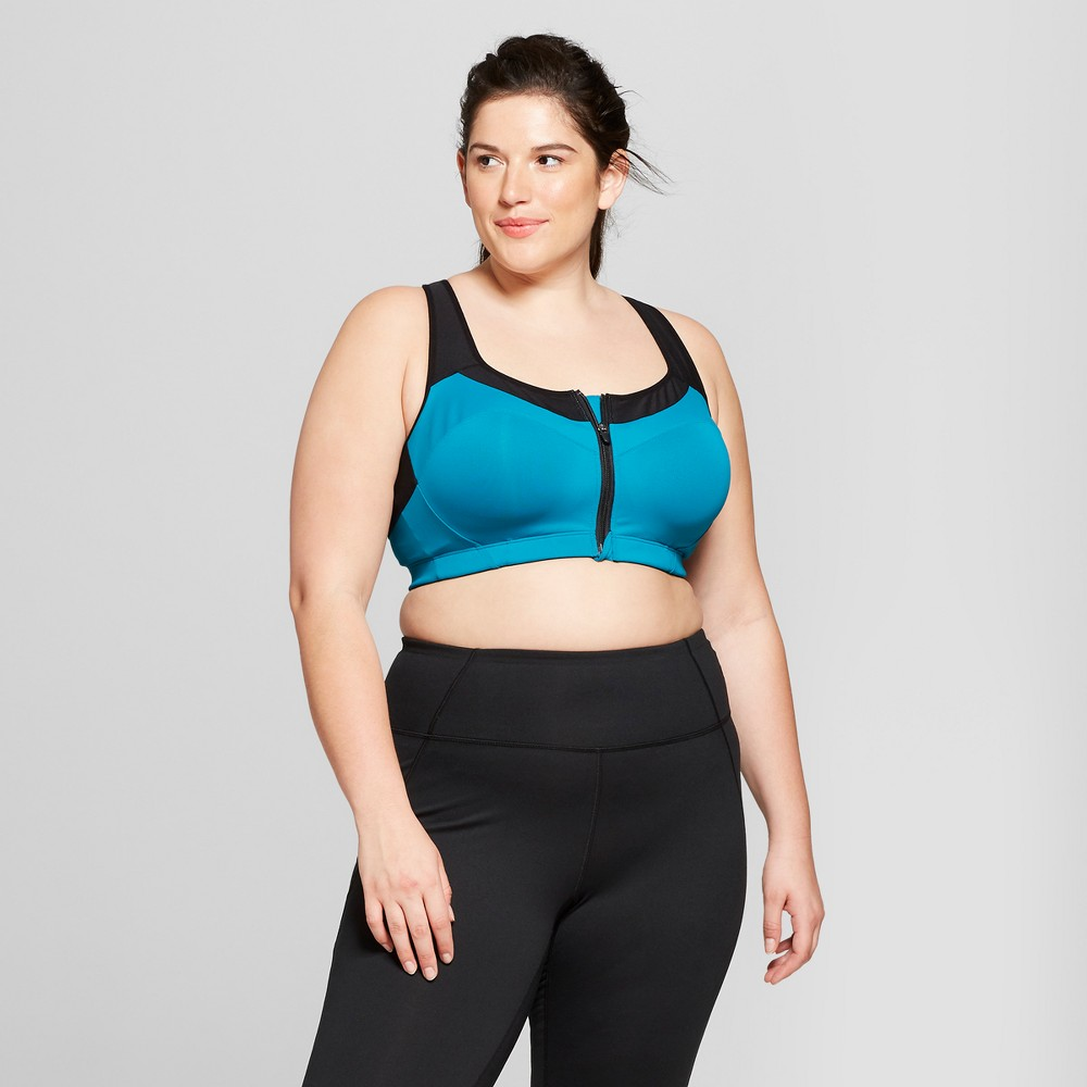 Women's Plus Size Motion Control Max Support Front Zip Sports Bra - C9 Champion Mermaid Teal 42DD
