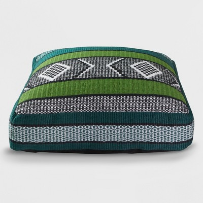 Woven Outdoor Floor Cushion Green/Black - Opalhouse™