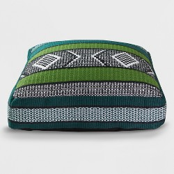 Woven Outdoor Floor Cushion Green/Black - Opalhouse™