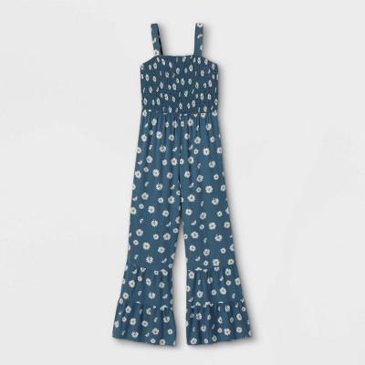 Girls' Smocked Bodice Tiered Sleeveless Jumpsuit - art class™